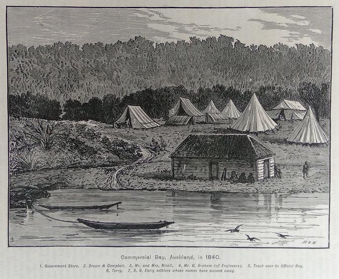 Commercial Bay 1840 - Original Wood Block Print