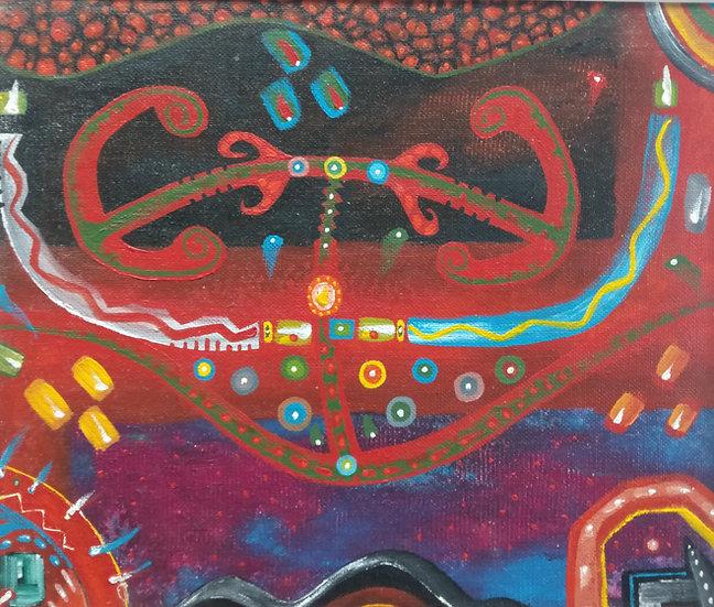 Alan Taylor (NZ) - Maori Folk Motif 3 - Acrylic on canvas board