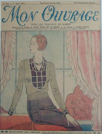 Blousom au Tricot - Original Art Deco Cover Offset Lithographs 1930s