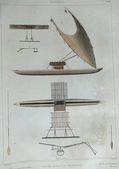 Vanikoro - Voyage de l'Astrolabe. 1835 original hand coloured engraving