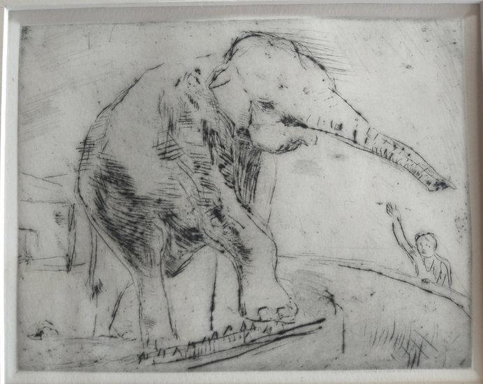 Elephant - Fritz Wrampe German Original etchings of Animals. Circa 1930
