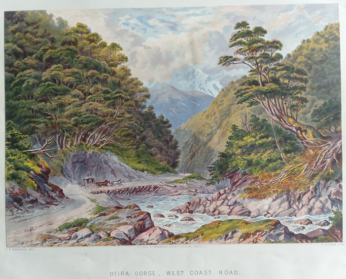 Otira Gorge, West Coast Road. Original Chromolithograph 1877 after painting by C