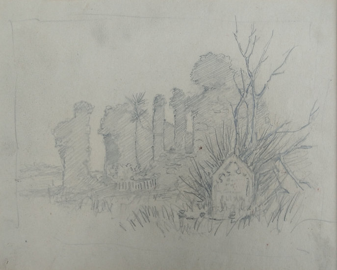 Original Trevor Lloyd drawing C.1920 - Pencil Sketch Old Church Howick