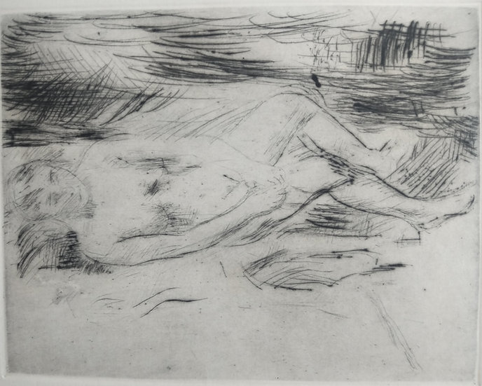 Female nude in chair - Fritz Wrampe German Original Etchings Figurative C. 1930.