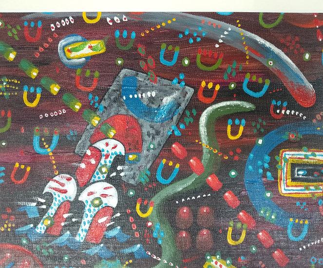 Alan Taylor (NZ) - Maori Folk Motif 6 - Acrylic on canvas board