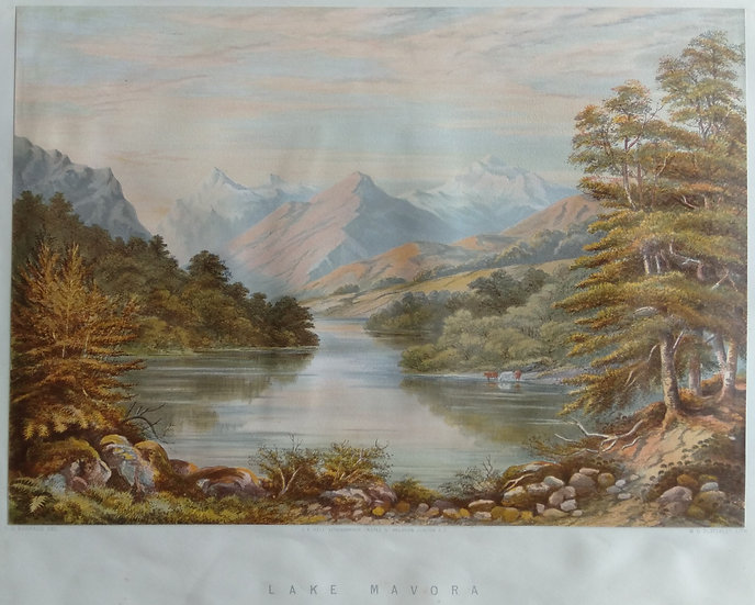 Lake Movora (Otago). Original Chromolithograph 1877 after painting by C.D. Barau