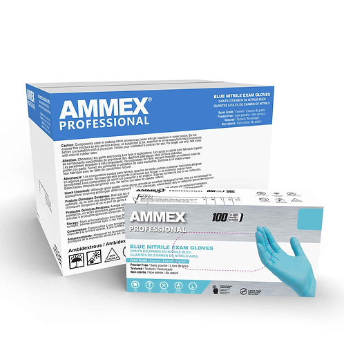 AMMEX Blue Nitrile Exam Latex Free Disposable Gloves (Case of 1000)