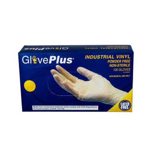 GlovePlus Clear Vinyl Industrial Latex Free Disposable Gloves (Case of 1000)