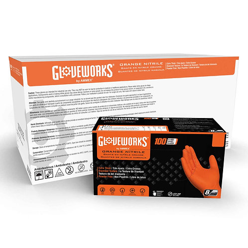 Gloveworks HD Orange Nitrile Industrial Latex Free Disposable Gloves (Case of 10