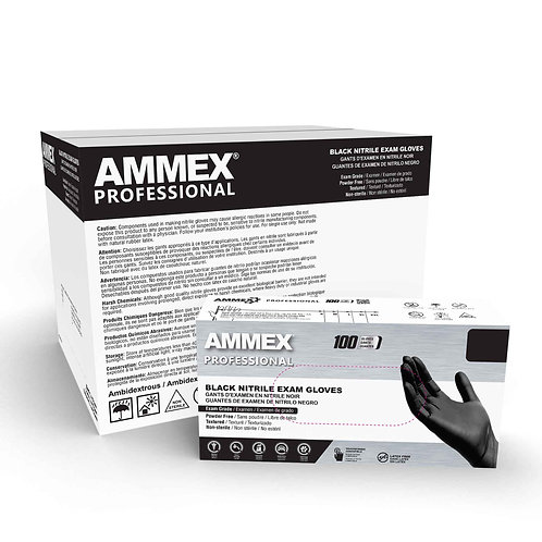 AMMEX Black Medical Nitrile Exam Latex Free Disposable Gloves (Case of 1000)