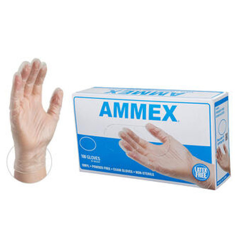 AMMEX Clear Vinyl Exam Latex Free Disposable Gloves (Case of 1000)