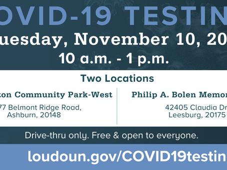 Free Loudoun County COVID-19 Testing on November 10, 2020