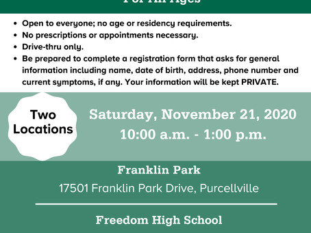 Loudoun County Hosts Free COVID-19 Testing November 21