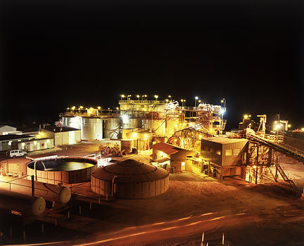 Elevated view of Gold Mine processing pl