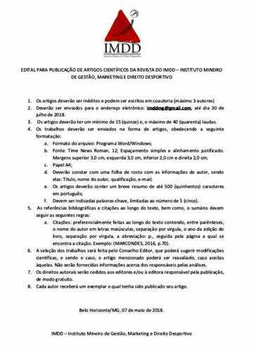 Edital para publicação de artigos sobre Gestão, Marketing e Direito Desportivo