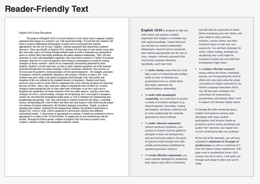 Side-by-side documents, one showing a solid block of text, the other with 2 columns of short bulleted paragraphs