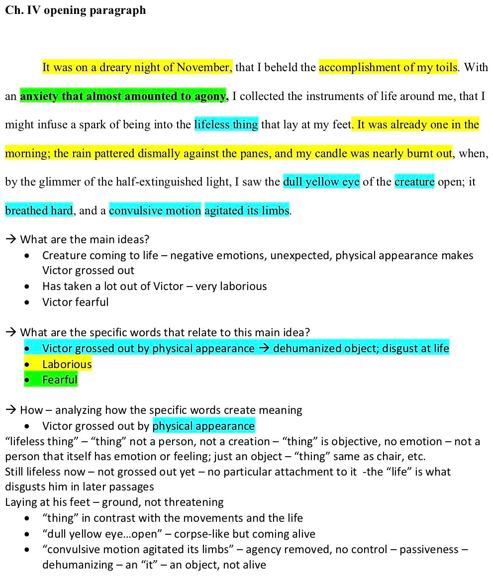 """Same Passage from Frankenstein as above, with various words and phrases highlighted in one of three colors. Also, Questions and student responses are posted below, such as """"What are the main ideas?"""" and """"What specific words relate to these main ideas?"""" with answers color coordinated to the passage analysis."""