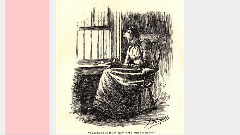 "Illustration from ""Yellow Wallpaper"" by Joseph Henry Hatfield, showing a woman sitting in rocking chair, writing"