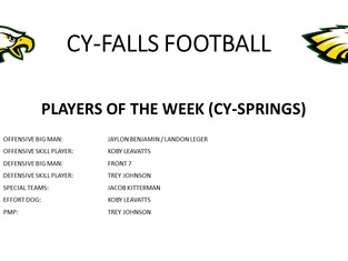 Cy-Springs Game Players of the Week