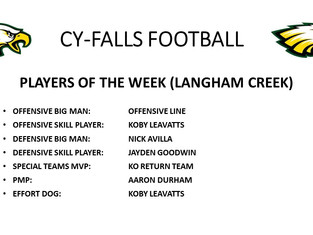 Langham Creek Players of the Week