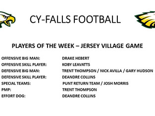 Jersey Village Players of the Week