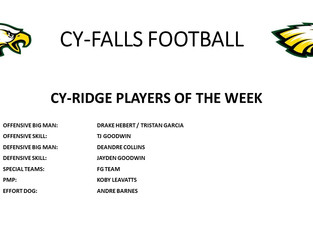 Cy-Ridge Game Players of the Week
