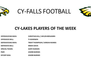 Cypress Lakes Players of the Week