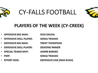 Cy-Creek Players of the Week