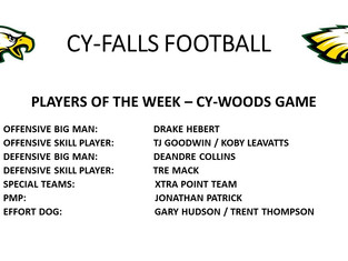 Cy-Woods Game Players of the Week