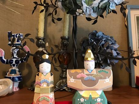【アトリエ日記】木彫りのお雛様飾りました。