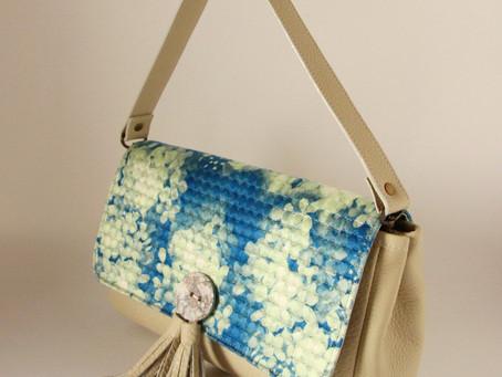 【アトリエ日記】あじさいブルーのバッグできました。