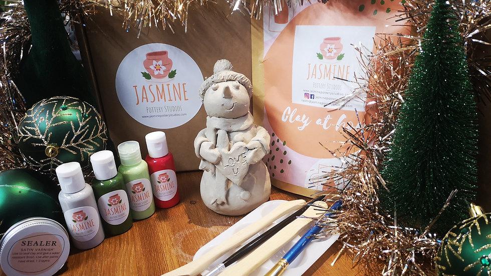 Make a festive Snowman clay kit