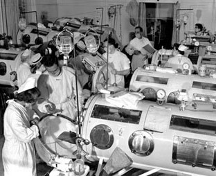 Iron lung ward supporting polio victims