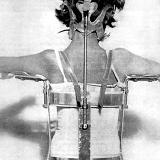 A polio brace supporting upright posture