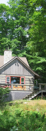 View of cabin from lake