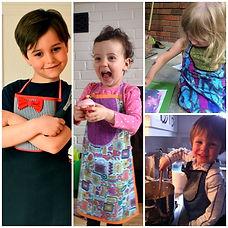 tabliers petits chefs pour enfants en tissu en tissu recyclé
