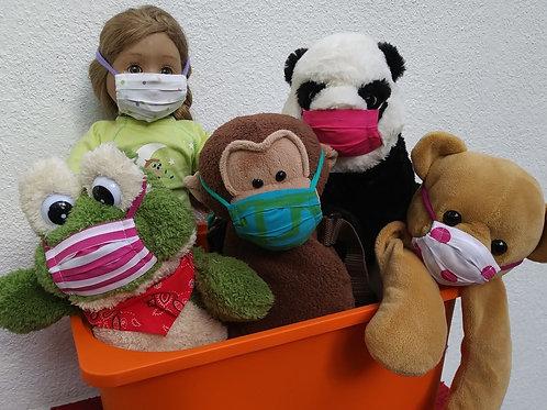 Masques tissu recycl pour poupée et peluches