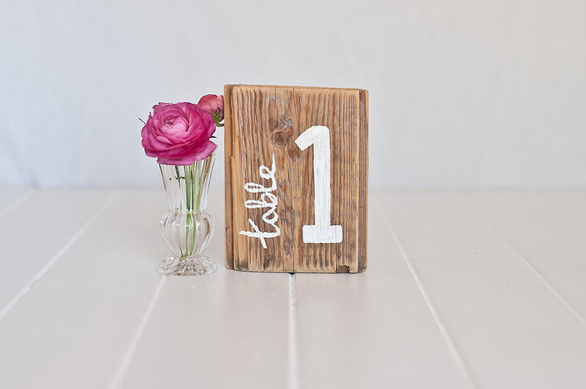 Recycled Wooden Signage - Table Numbers