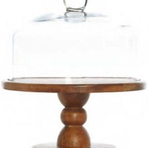 Wooden Cake Stand and Glass Cloche