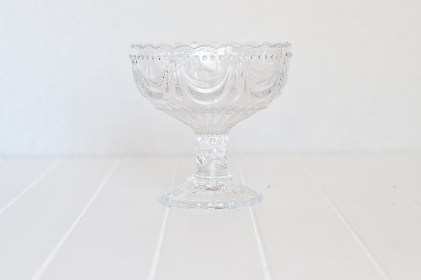 Embossed Glass Footed Bowl