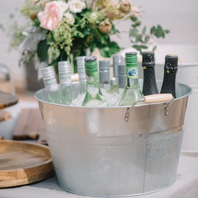 Metal Tubs with Wooden Handles