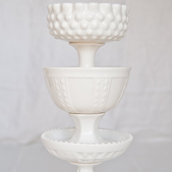 White Footed Compote Bowls Small