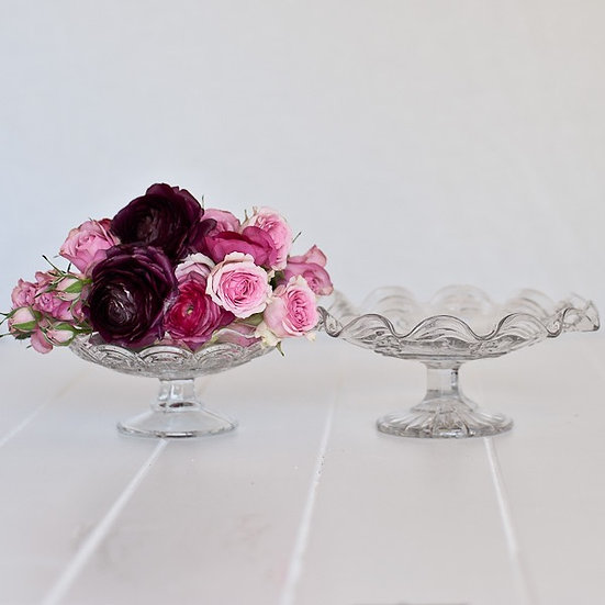 Vintage Crystal Large Footed Compote