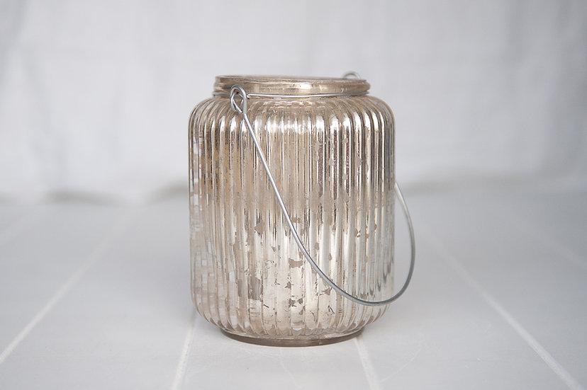 Silver Mercury Glass Ribbed Lantern