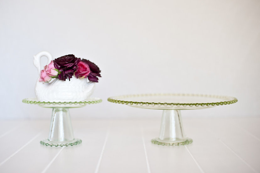 Green Glass Cake Stand Large