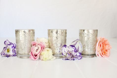 Cylindrical Silver Mercury Glass Tealight