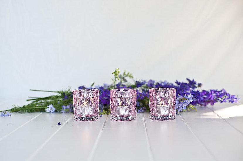 Pink Geometric Glass Tealight Holder