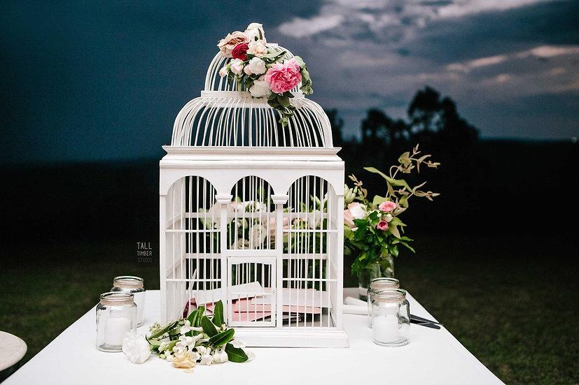 White Birdcage Wishing Well Large