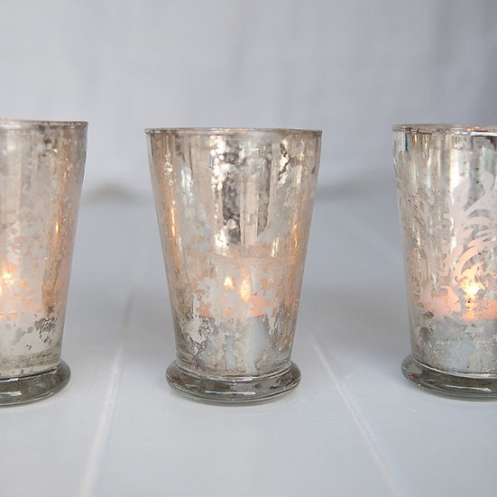 Silver Fluted Mercury Glass Tealight Holder