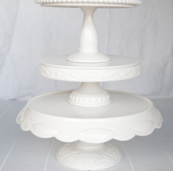 Ceramic White Cake Stand Medium